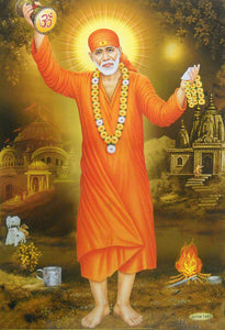 "Singing Sai baba/ Hindu God Big Poster -reprint on paper (Unframed : Size 21""X31"" Inches)"