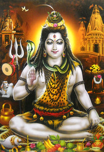"Blessing Lord Shiva/ Hindu God Big Poster -reprint on paper (Unframed : Size 21""X31"" Inches)"