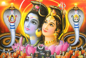 "Shiva Parvati enshrined on Snakes/Hindu God Big Poster -Reprint on Paper (Unframed : Size 21""X31"" Inches)"