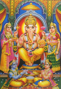 "Divine Lord Ganesha/ Hindu God Large Poster -reprint on paper (Unframed : Size 21""X31"" Inches)"