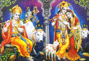"Fluting Krishna with Radha and Cows/Hindu God Large Poster -Reprint on Paper (Unframed : Size 21""X31"" Inches)"