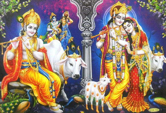 Fluting Krishna with Radha and Cows/Hindu God Large Poster -Reprint on Paper (Unframed : Size 21