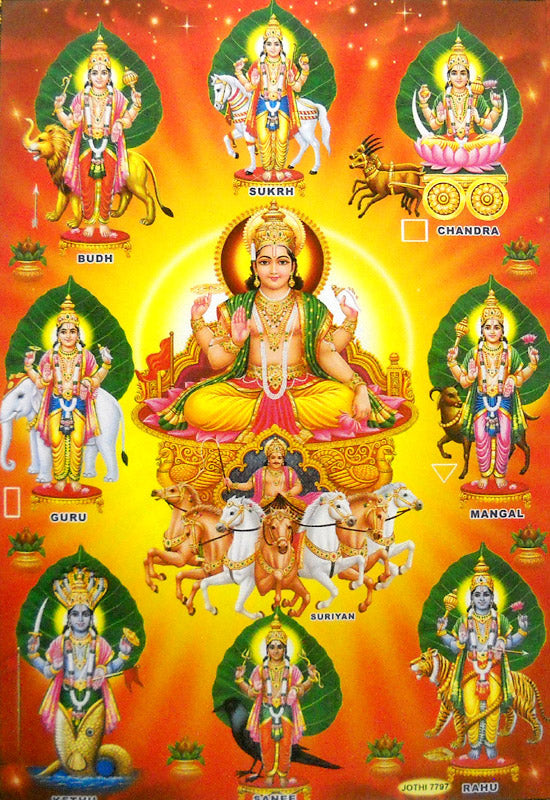 Nine Devi's/ Hindu Goddess Big Poster -reprint on paper (Unframed : Size 21