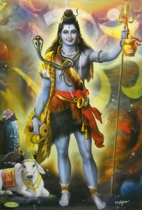 "Brave Lord Shiva/ Hindu God Big Poster -reprint on paper (Unframed : Size 21""X31"" Inches)"