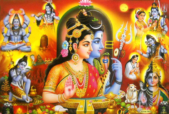 Various Events in the Life of Lord Shiva/ Hindu God Big Poster -reprint on paper (Unframed : Size 21