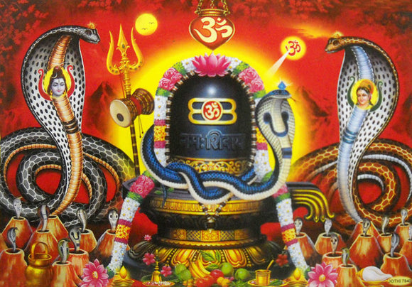 Shiva Lingam covered by snakes/ Hindu God Big Poster -reprint on paper (Unframed : Size 21