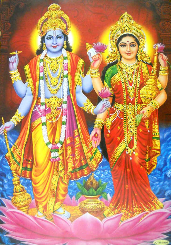 India Crafts Lakshmi Narayan/Hindu Goddess Poster - Reprint on Paper (Unframed : Size 21