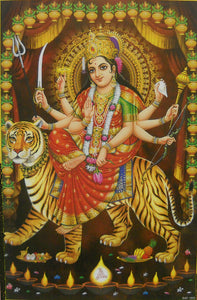 "Sheran wali Mata/ Blessing Goddess Durga on her vehicle Lion Hindu God Poster (Unframed : 10"" X 16"" Inches)"