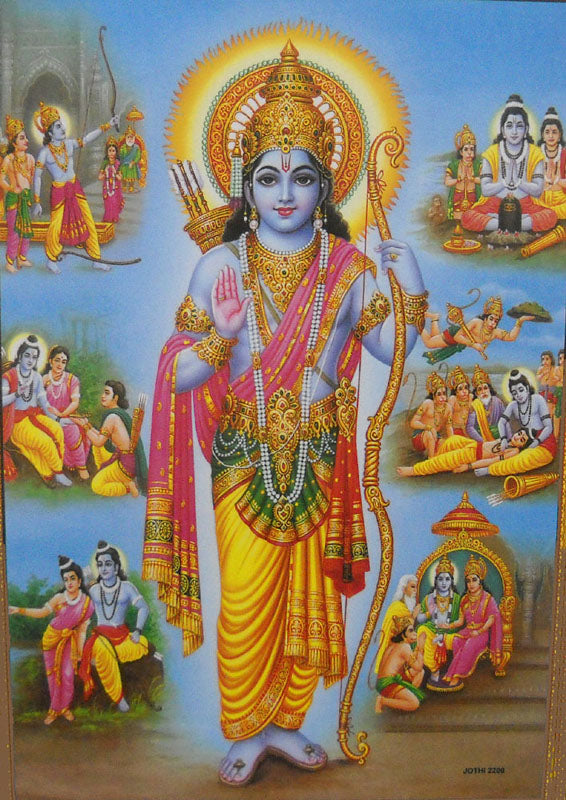 Events in The Life of Lord Rama Poster/Hindu God Poster (Unframed : 10