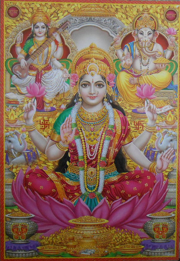 India Crafts Auspicious Lakshmi Ganesha Saraswati/Hindu God Poster - Reprint on Paper (Unframed : Size 10