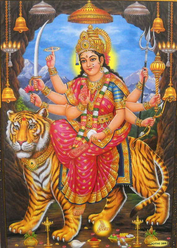 Blessing Goddess Durga with her vehicle Lion Hindu God Poster (Unframed : 10