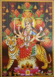 "India Crafts Goddess Durga on her Vehicle Lion/Hindu Goddess Poster - Reprint on Paper (Unframed : Size 10"" X16 Inches)"