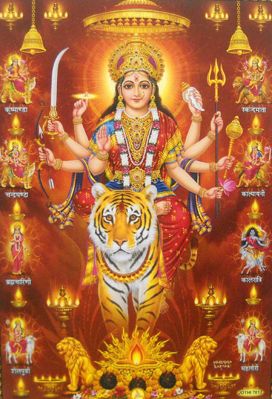 Nine Devi's/Goddess Durga on her Vehicle Lion/Hindu God Poster (Unframed : 10