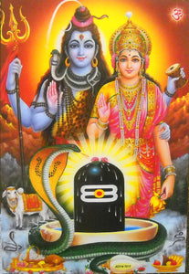 "Blessing Shiva Parvati Poster/ Hindu God Poster (Unframed : 10"" X 16"" Inches)"