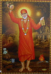 "India Crafts Shirdi Sai Baba : Sabka Maalik Ek/Hindu God Poster - Reprint on Paper (Unframed : Size 10"" X16 Inches)"