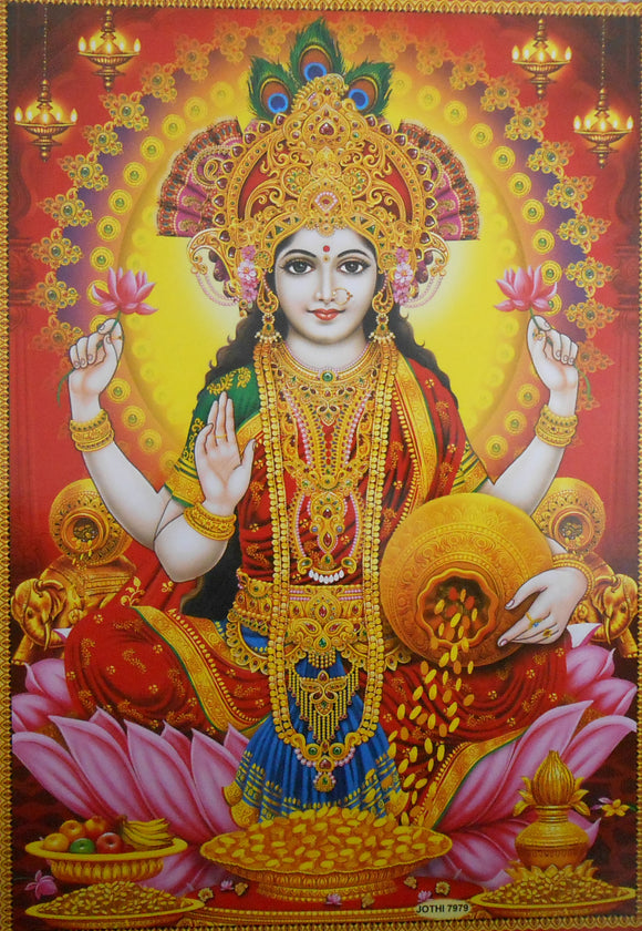 India Crafts Goddess of Wealth: Goddess Lakshmi/Hindu Goddess Poster - Reprint on Paper (Unframed : Size 10