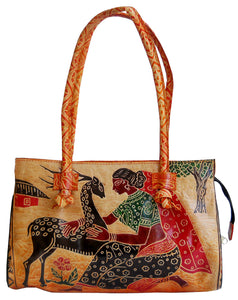 Village lady Loving a Deer Design Ethnic Hand Embossed Shantiniketan Leather Indian Shoulder Bag