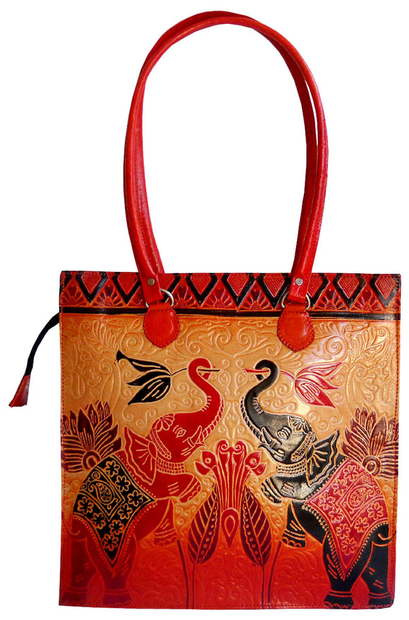 Twin Royal Elephants Design Ethnic Hand Embossed Shantiniketan Leather Indian Shoulder Bag