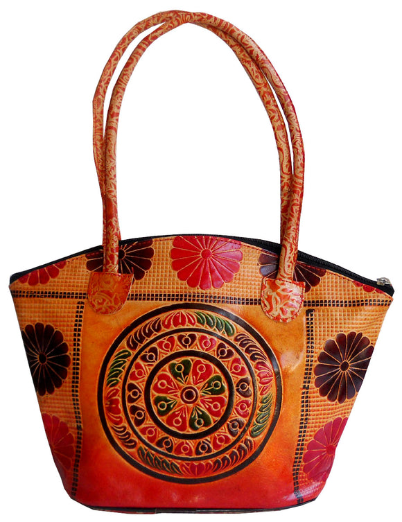 Circles Design Ethnic Hand Embossed Shantiniketan Leather Indian Shoulder Bag