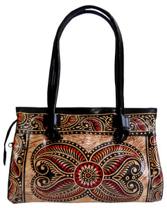 Exclusive Batik Design Ethnic Hand Made Shantiniketan Leather Indian Shoulder Bag