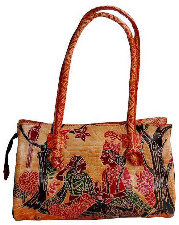 Divine Lovers Radha Krishna Design Ethnic Hand Embossed Shantiniketan Leather Indian Shoulder Bag