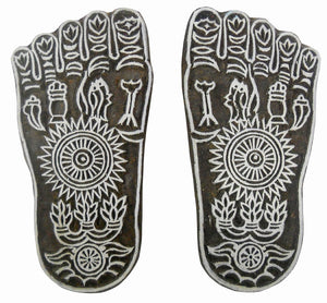 Auspicious Sacred Goddess Lakshmi Feet Wooden Block Stamp/Tattoo/Indian Textile Printing Block