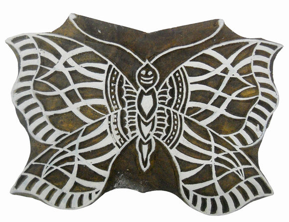 Butterfly wooden block stamp/ Tattoo/ Indian Textile large Printing Block