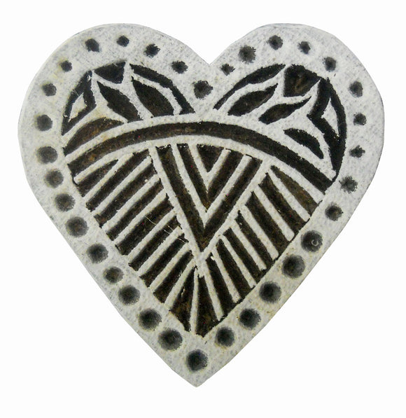Heart Design wooden block stamp/ Tattoo/ Indian Textile Printing Block