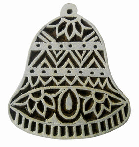 Christmas bell design wooden block stamp/ Tattoo/ Indian Textile Printing Block