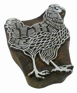 Cock design wooden block stamp/ Tattoo/ Indian Textile Printing Block