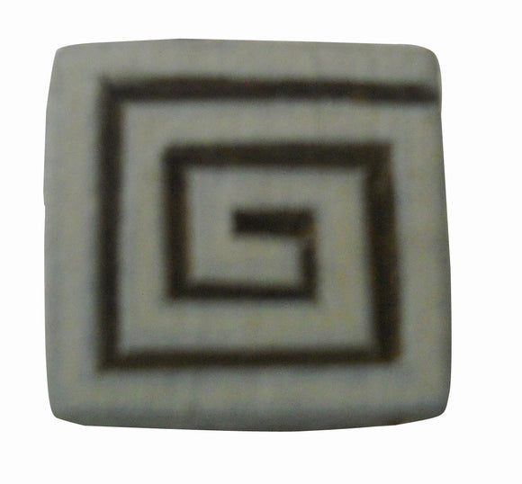 Square Spiral Design Wooden Block Stamp/Tattoo/Indian Textile Printing Block