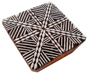 Unique design Square shaped wooden block stamp/ Tattoo/ Handcarved Indian Textile Printing Block