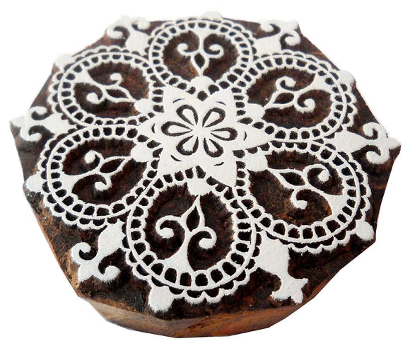 Rangoli Design wooden block stamp/ Tattoo/ Handcarved Indian Textile Printing Block