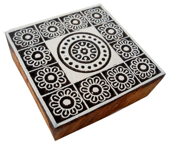 Multi Flowers wooden block stamp/ Tattoo/ Indian Textile Printing Block