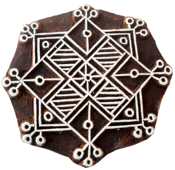 Decorative Rangoli Design wooden block stamp/ Tattoo/ Indian Textile Printing Block