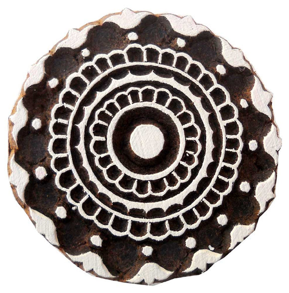 Round Shaped wooden block stamp/ Tattoo/ Indian Textile Printing Block