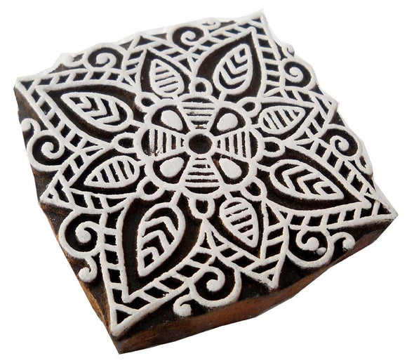 Square Rangoli Design wooden block stamp/ Tattoo/ Indian Textile Printing Block