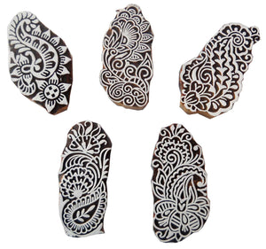 Lot of Five Paisley design Wooden Block stamps/ Tattoo/ Indian Textile Printing Blocks