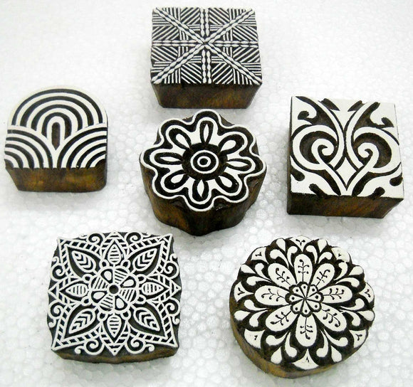 Wholesale Pack of Six unique Exotic Designs wooden block stamps/ Tattoo/ Handcarved Indian Textile Printing Blocks