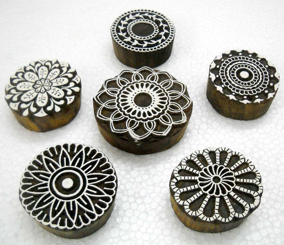 Wholesale (Pack of 6) Round shaped floral designs wooden block stamps / Tattoo/ Indian Textile Printing Blocks