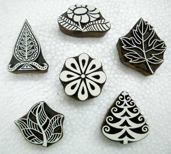 Lot of Six Floral and Leaves Design Wooden Bllock Stamps/Tattoo/ Indian Textile Printing Blocks