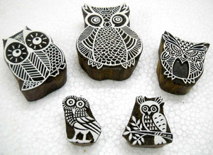 Owl Family Wooden Block Stamps/Tattoo/ Handcarved Indian Textile Printing Blocks