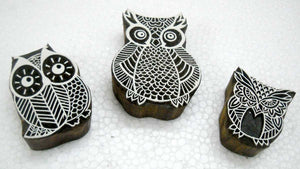 Owl Family Wooden Block Stamps/ Tattoo/ Indian Textile Printing Blocks