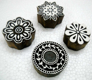 Wholesale Lot of Four Floral Designs Wooden Block stamps/ Tattoo/ Indian Textile Printing Blocks
