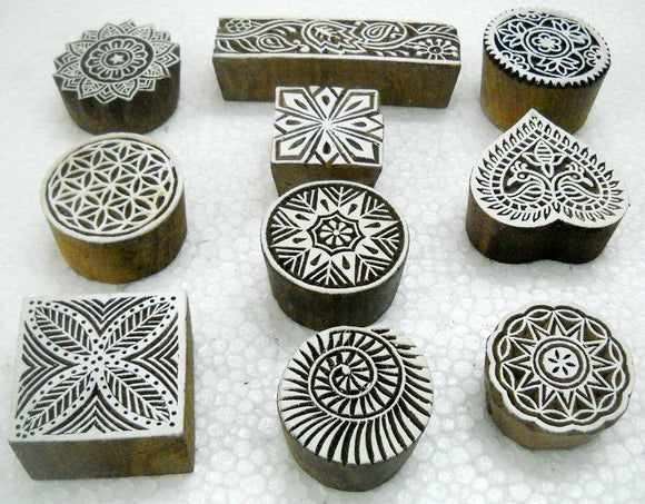 Wholesale Lot of 10 Classic Designs Wooden Block Stamps/ Tattoo/ Indian Textile Printing Blocks