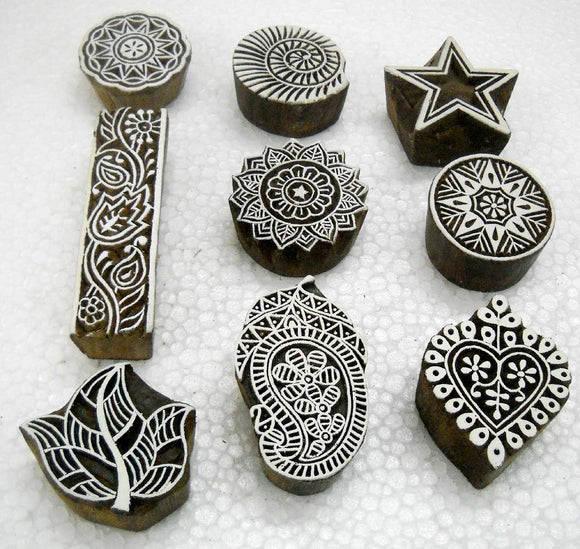 Pack of Nine Exotic Wooden Block Stamps/ Tattoo/ Indian Textile Printing Blocks