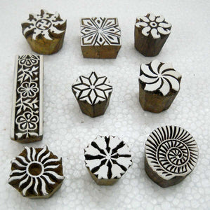 Wholesale Lot of Nine Beautiful Wooden Block Stamps/ Tattoo/ Indian Textile Printing Blocks