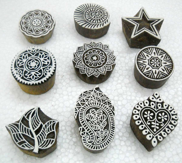 Wholesale Pack of Nine Unique Design/ Tattoo/ Indian Textile Printing Blocks