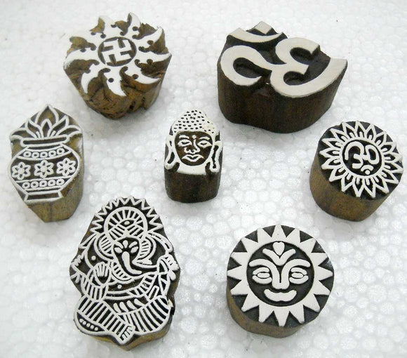 Wholesale Pack of Seven Hindu Spiritual Block Stamps/ Tattoo/ Indian Textile Printing Blocks