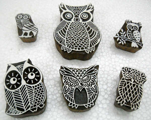 Owls Family/ Tattoo/ Indian Textile Printing Blocks